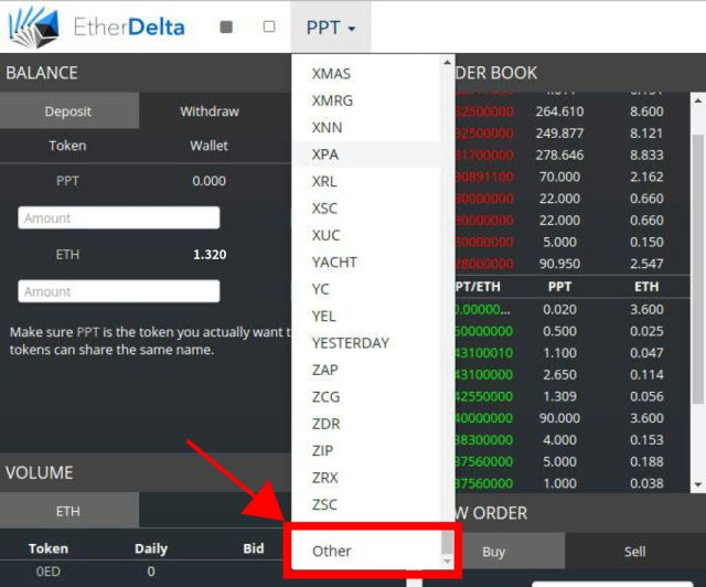 Etherdelta Token other